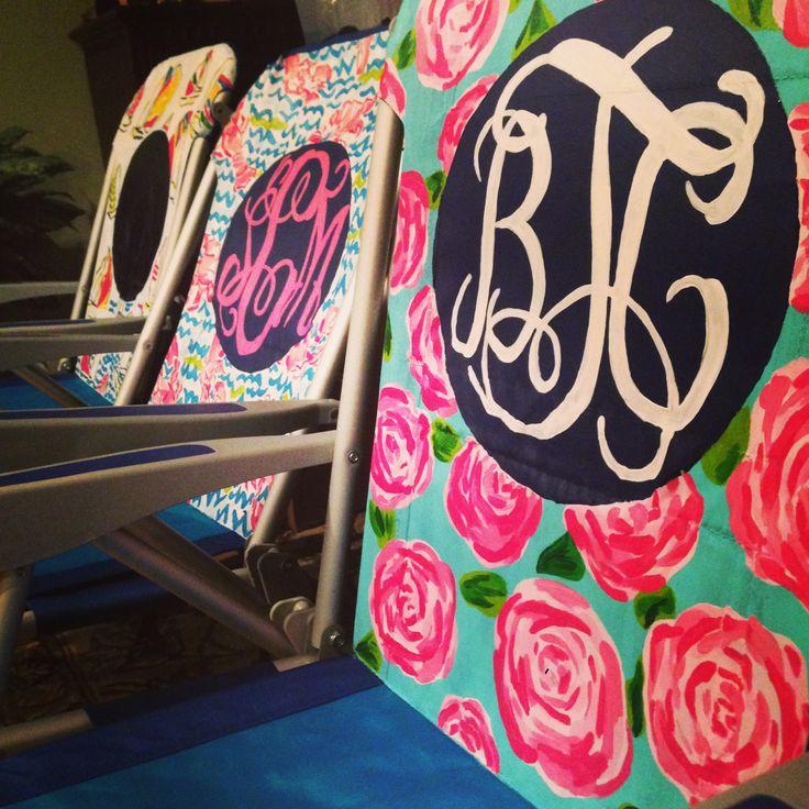 Lilly Pulitzer Inspired Monogram Beach Chair