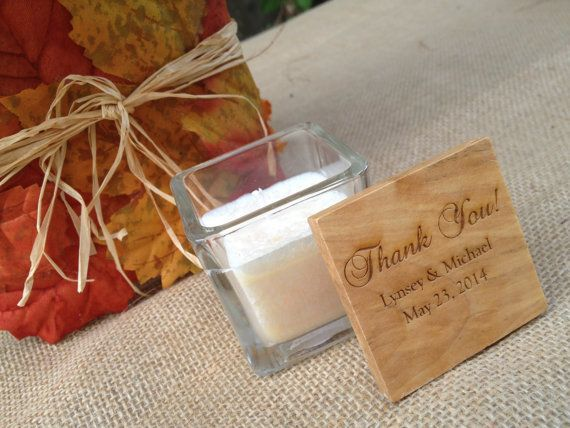 Unique Wedding Hostess Gifts : Personalized Candle Woodtop Candle Wedding by decadentdesigns, USD5.25