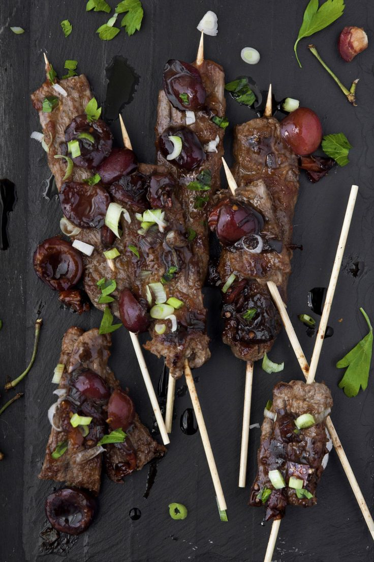 Smashed Steak Skewers With Cherry Barbecue Sauce Recipe — Dishmaps