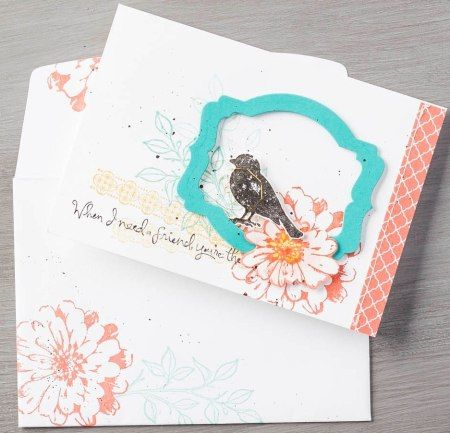 Stampin' Up! bird card using the new stamp set called Choose Happiness and Deco Label framelits