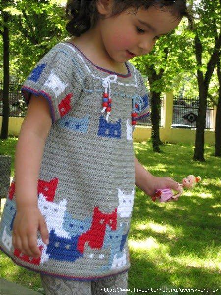 Идеи для вязания детских платьев крючком 191