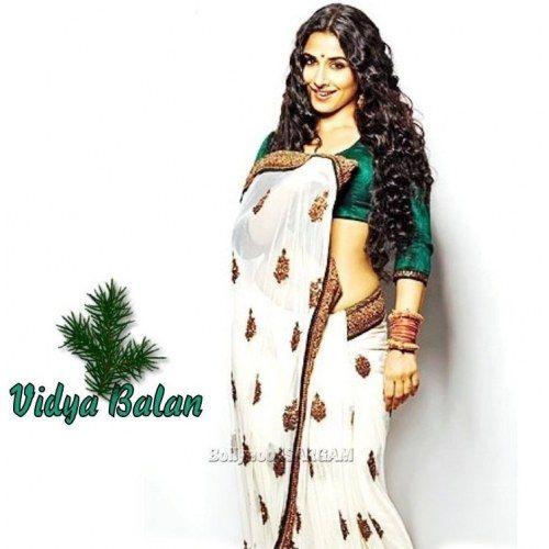 Vidya balan designer white & green saree | Indian Sarees by Craftsvil ...