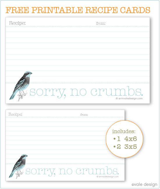 DIY: FREE printable Bird recipe card | Organize Me | Pinterest