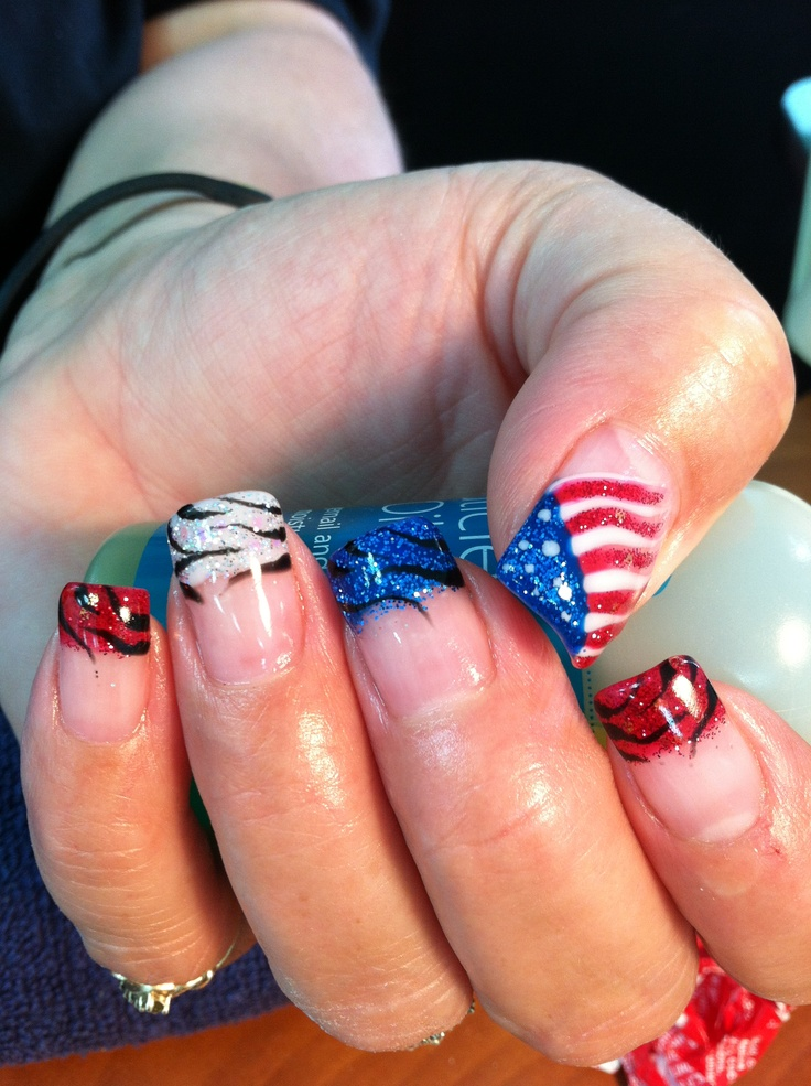 fourth of july gel nails