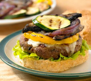 Lean Ground BEEF BURGER w/ Asiago cheese & grilled vegetables