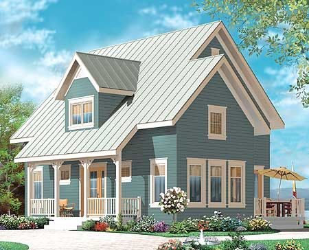 Country cottage with cathedral ceiling house plans for Cathedral ceiling home plans