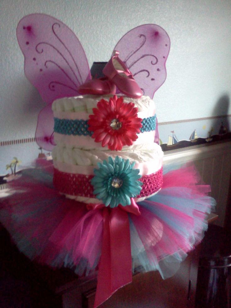 pink and teal baby shower diaper cake gift ideas pinterest