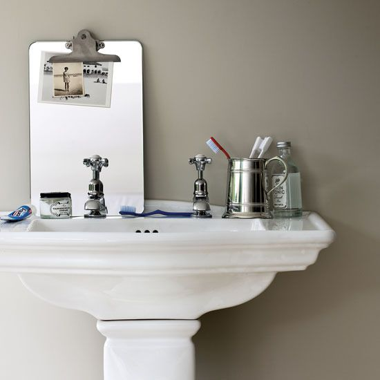 pedestal sink storage Powder Room Makeover Pinterest