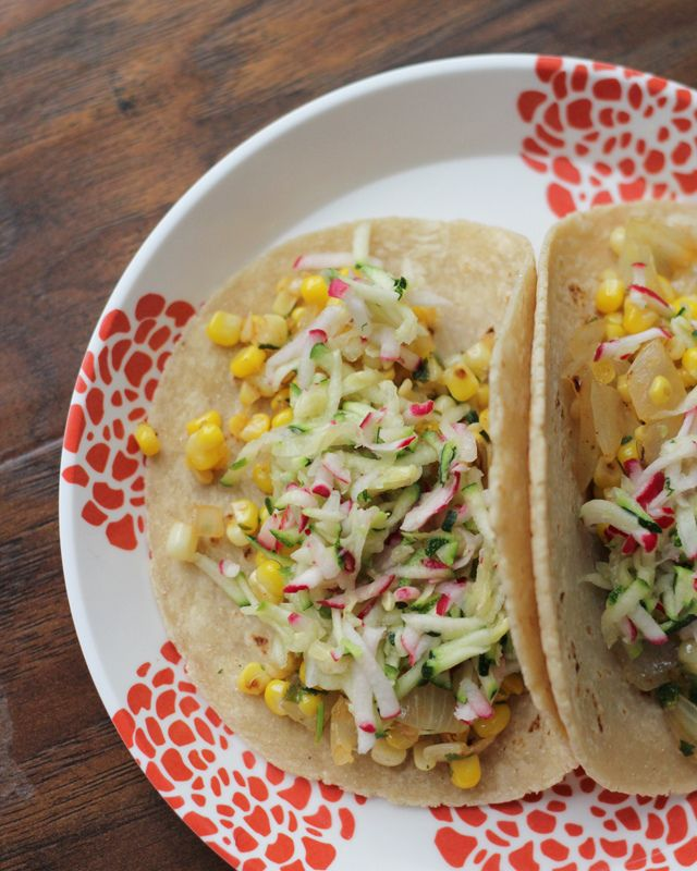 Tacos with Corn, Zucchini-Radish Slaw and Avocado | Recipe