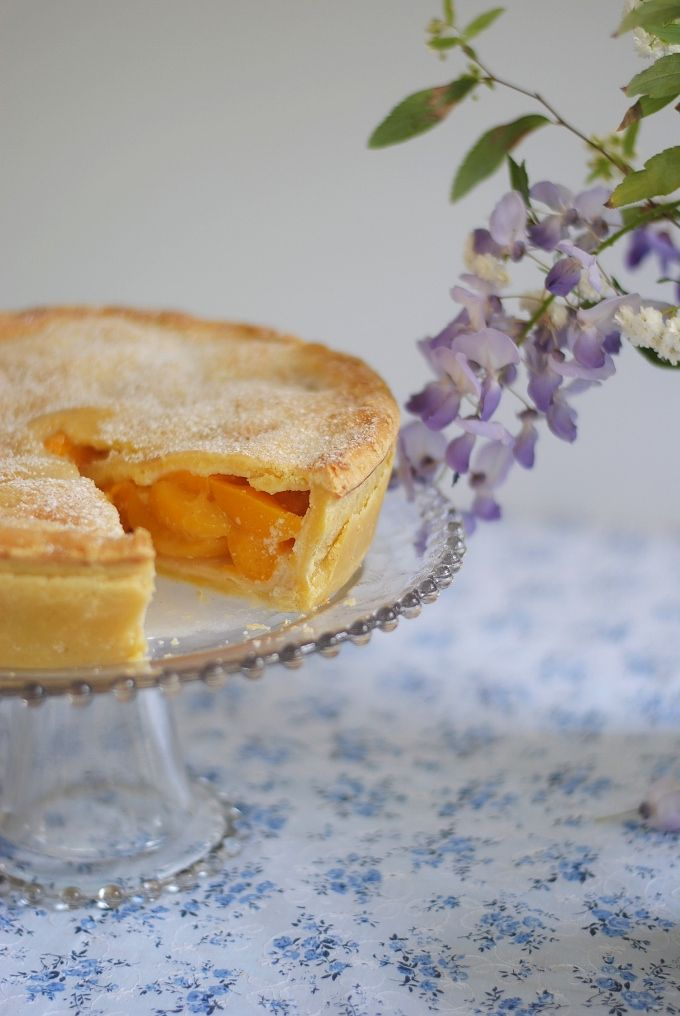 The Littlest Things: sugar-crusted peach pie with almond cream.
