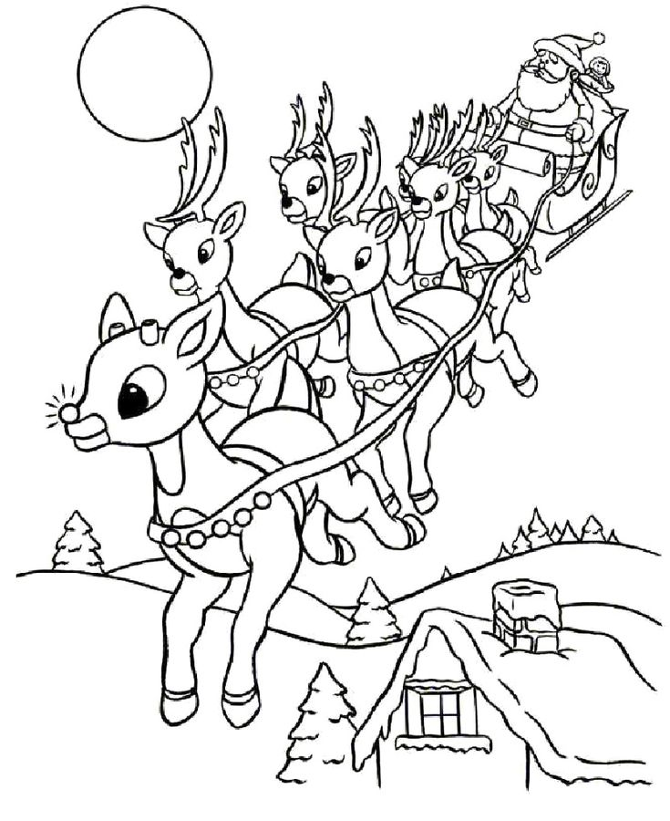 reindeer christmas coloring pages - photo#18