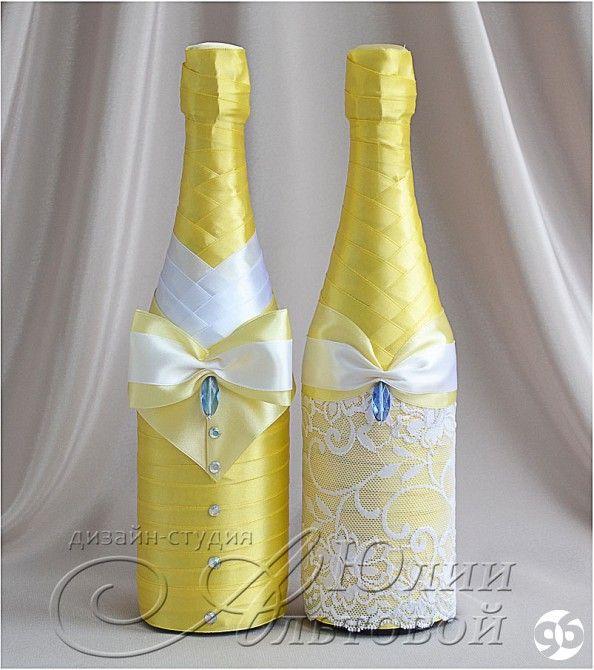 Украшение свадебной бутылки шампанского своими руками лентами