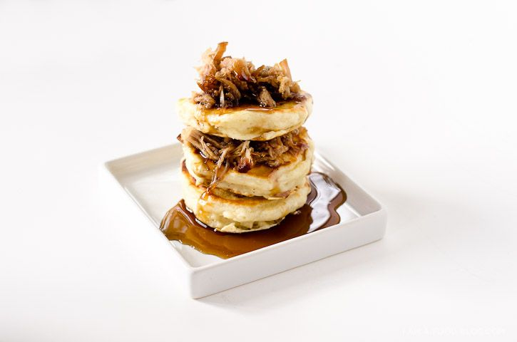 pulled pork pancakes with Jack Daniel's Maple syrup- know i'm on a ...