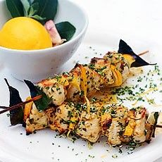Grilled Lemon Chicken Kebabs add more olive oil and honey to sauce