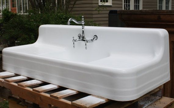 High Back Farmhouse Sink : ... Sink, (60 X 24) Refinished in Bright White, 7.5 inch Apron, High Back