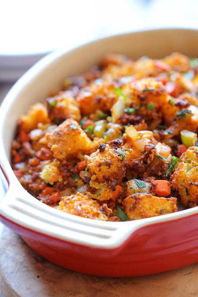 Chorizo Cornbread Stuffing ~ The addition of chorizo brings in such an ...