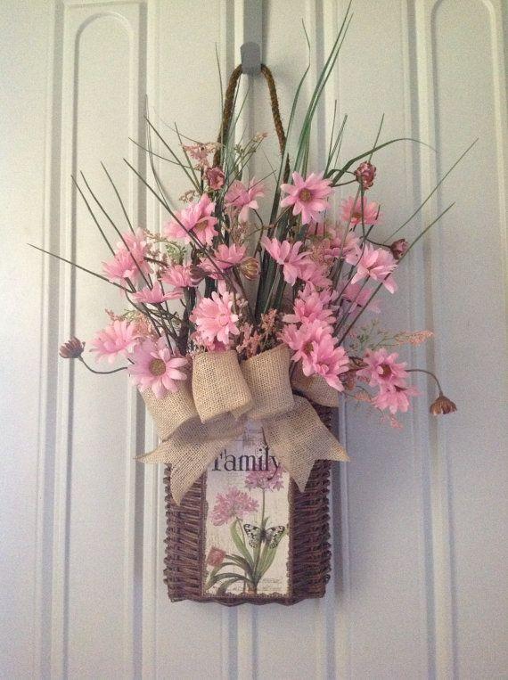 Front door hanging door basket with pink wild daisy 39 s for Things to hang on front door