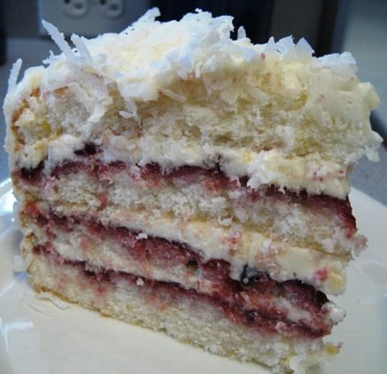 Dorie Greenspan's perfect party cake. Light lemony cake with raspberry ...