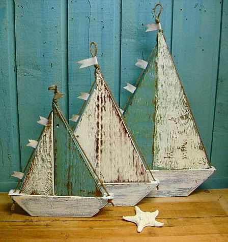 Wooden Sailboat Sailing Ship Sign Large Turquoise White Beach House Decor. $49.00, via Etsy.