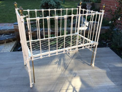 Antique Cast Iron Baby Cot Victorian Edwardian Doll Display Vintage