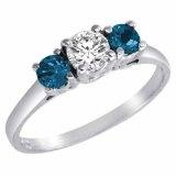3 Stone Round White Diamond & Blue Diamond Accented Ring in 14K White Gold