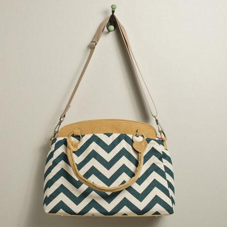 Ketti Handbags Chevron Designer Camera Bag - Navy