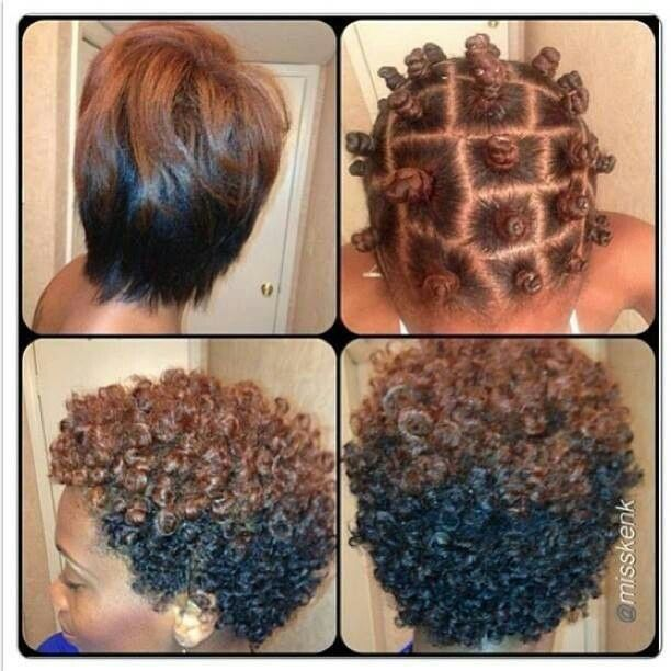 Bantu Knots On Straightened Natural Hair