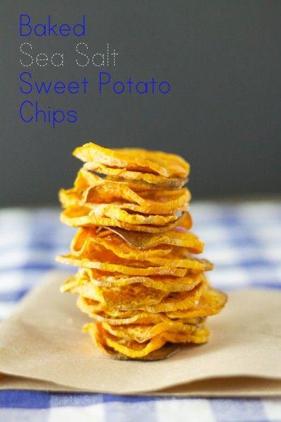 Baked Sea Salt Sweet Potato Chips - http://www.jellypin.com/baked-sea ...