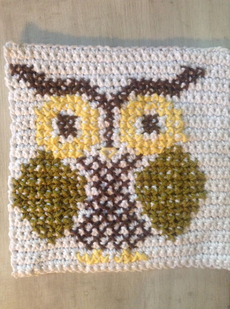 Crochet Stitch Keeper : Crocheted cross stitch owl pot holder m y c r o c h e t Pinterest