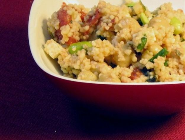 Healthy & Delicious: Couscous with Chickpeas, Tomato, and Edamame | R ...