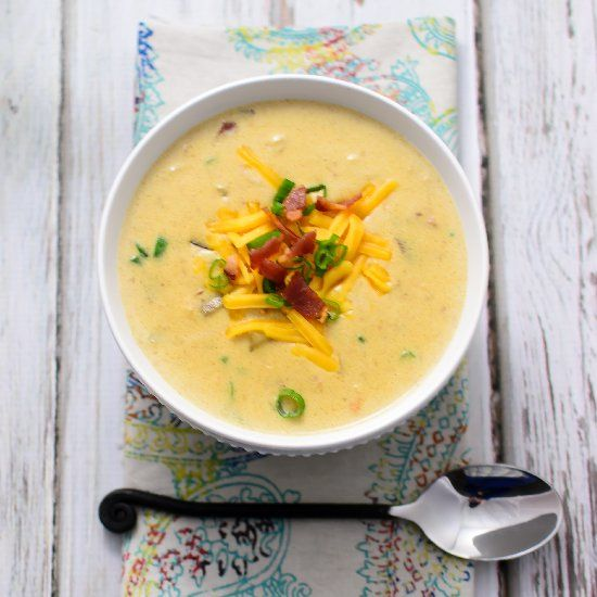 Baked Potato Soup With Bacon, Onion & Cheddar Recipe — Dishmaps