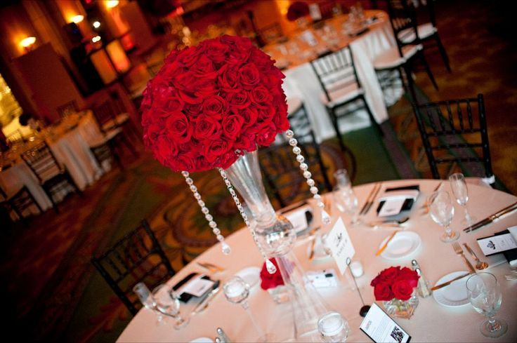 Tall red roses topiary centerpiece stephen and nica