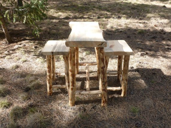 Indoor outdoor rustic table and bar stools Rustic outdoor bar stools
