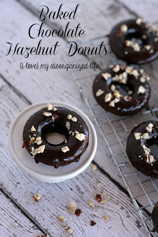 Baked Chocolate Hazelnut Donuts