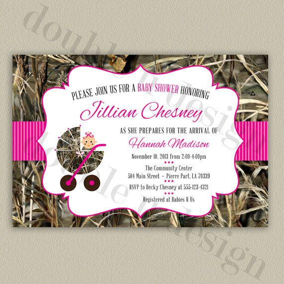 printable diy pink camouflage baby shower invitation by double u