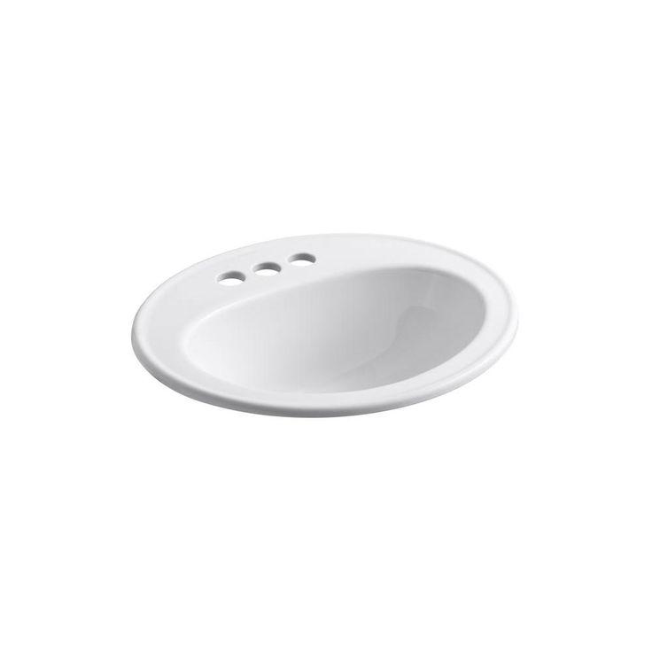 68.00 KOHLER Pennington Top-Mount Bathroom Sink in White-K-R2196-4-0 ...