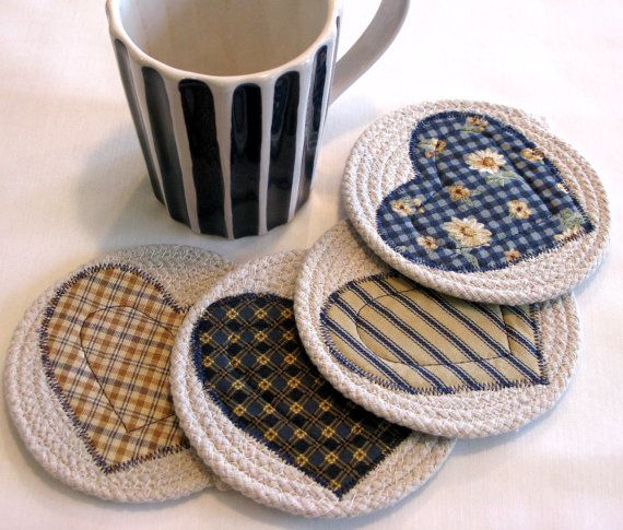 Coasters Coiled Fabric Coasters Mug Rugs Trivets by DollPatchworks, $ ...