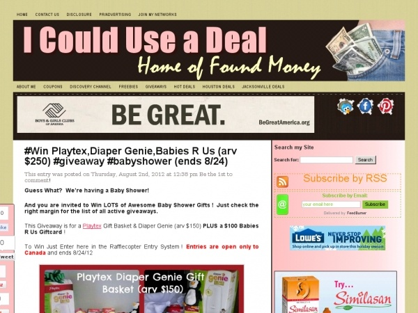 #Win Playtex,Diaper Genie,Babies R Us (arv $ 250) #giveaway #babyshower (ends 8/24) | I Could Use a Deal http://www.icoulduseadeal.com/2012/08/diaper-genie.html