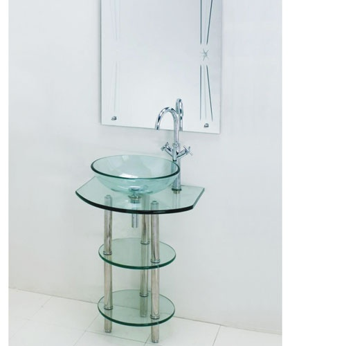 Clear Glass Pedestal Sink with Mirror Interior (home) Pinterest