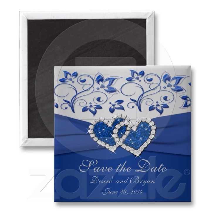 Royal blue and silver wedding favor magnet from zazzle com save the