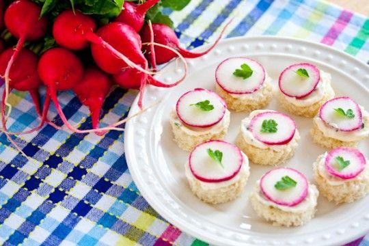 Radish tea sandwiches | Finger Food | Pinterest