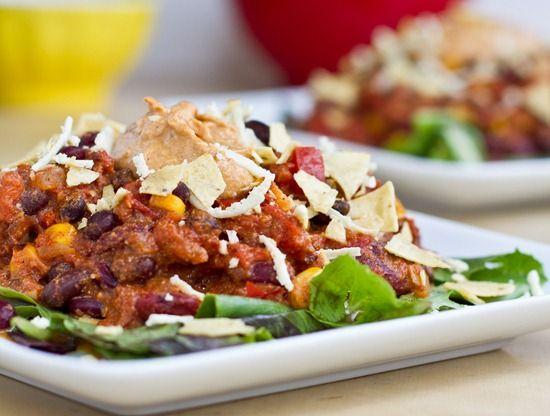 vegan taco chili with nacho cheese sauce | What I want to eat... | Pi ...