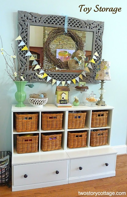 Beautiful toy storage living room pinterest for Living room toy storage