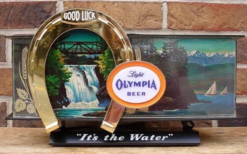 1960s Olympia Beer Waterfall Cash Register Sign Light W