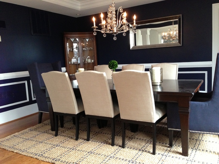 Navy dining room home dining room pinterest for Navy dining room ideas