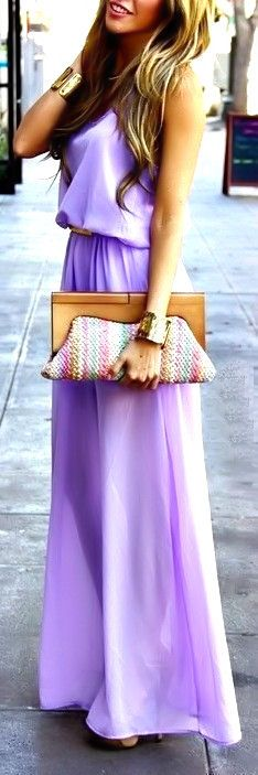 lavender maxi dress & cuffs ♥ Get the look at http://studentrate.com/Fashion-Discounts