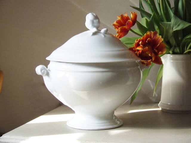 French white ironstone soup tureen & spring tulips | Ironstone ...