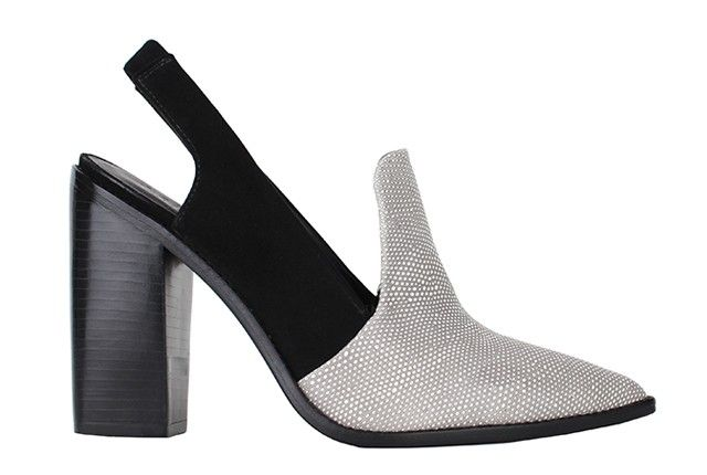 Tibi Maud heel. Slingback pump with combo embossed pebbled leather and