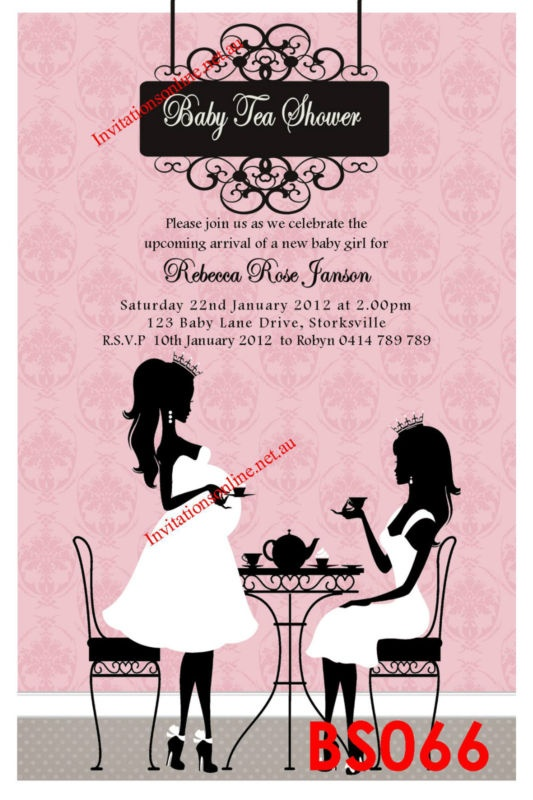 baby shower invitation high tea party invite pregnant lady pink blue