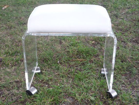 Vintage Lucite Vanity Stool Bench Ottoman Wheels Castors Hollywood Re